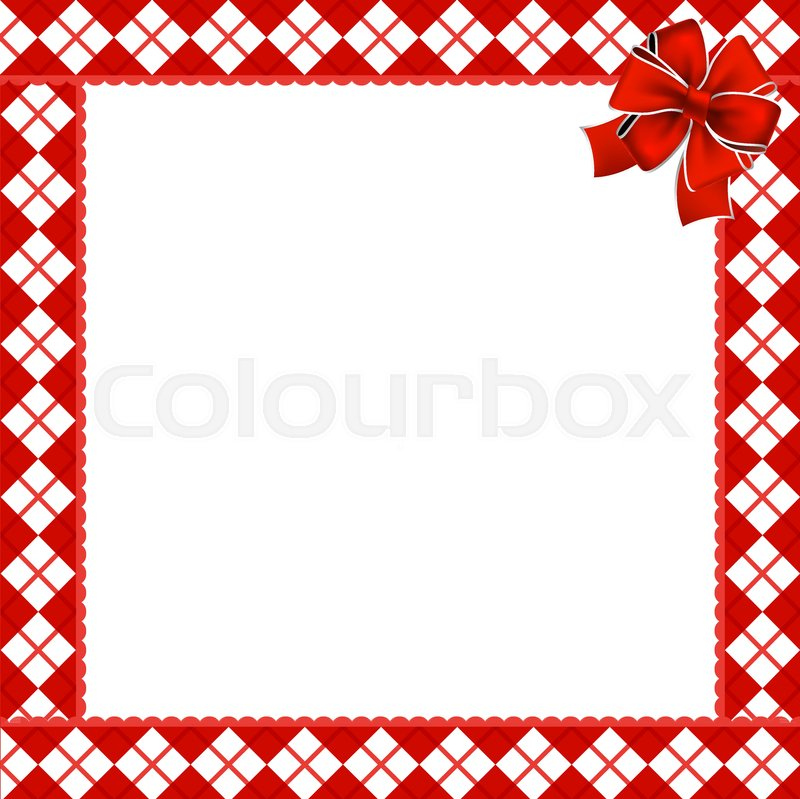 cute christmas or new year frame with red and white diamond pattern decorated with red ribbon in the corner vector illustration border template with copy