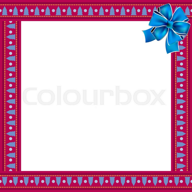 cute christmas or new year frame with blue christmas trees pattern on festive purple wrapped with blue ribbon in the corner and space for text