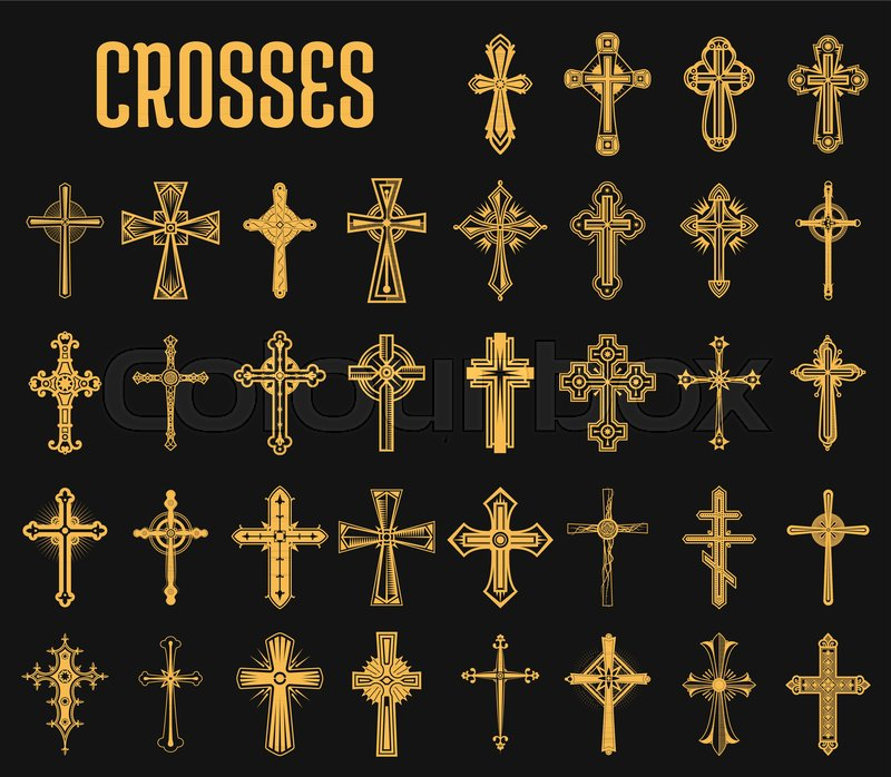 Crosses Of Christian Religion Set Of Isolated Orthodoxy And