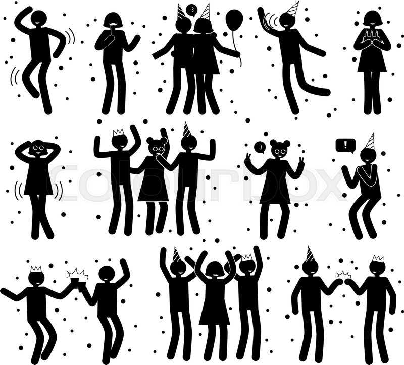 celebration poses collection of black silhouettes on white isolated