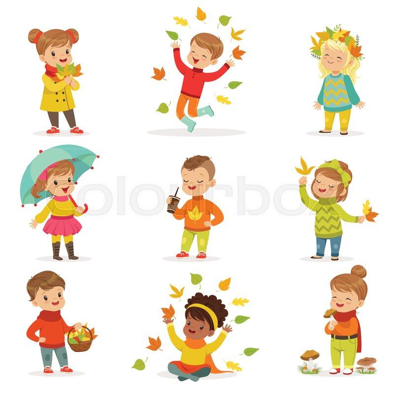 Autumn children s outdoor seasonal activities set. Kids ...