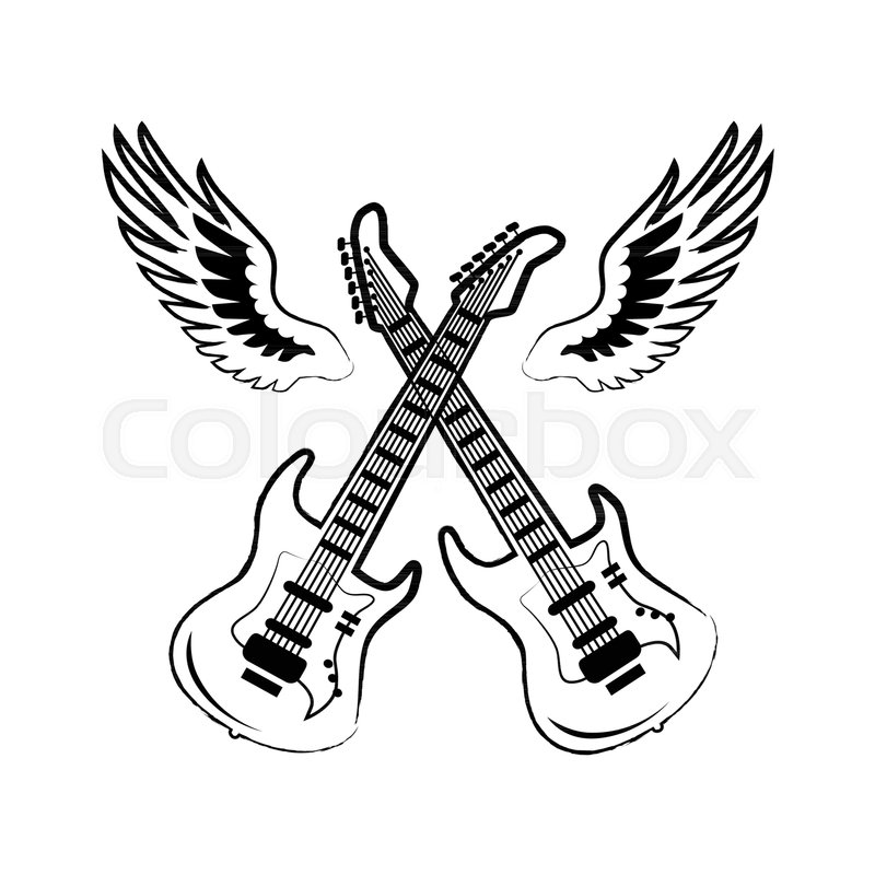 rock icons of crossed electric stock vector colourbox Electric Upright Bass Strings