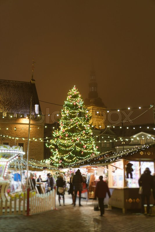 Christmas market at the Town Hall Square, stock photo