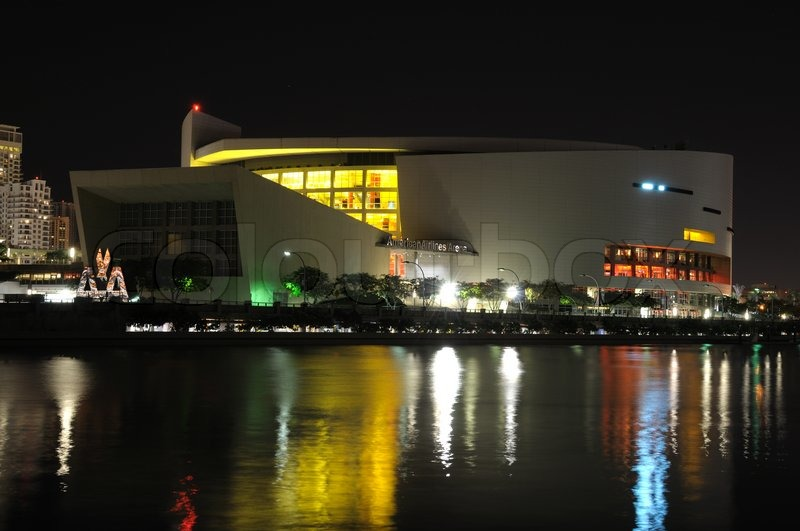 American Airlines Arena At Night Miami Florida Usa