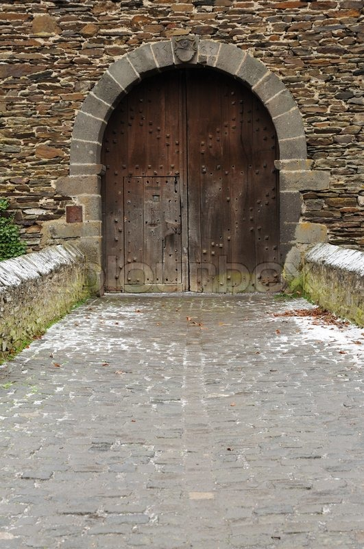 gate in a medieval castle stock photo colourbox