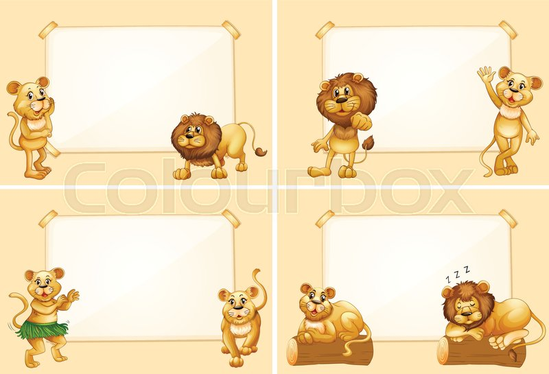 Four Border Templates With Cute Lions Illustration Stock Vector