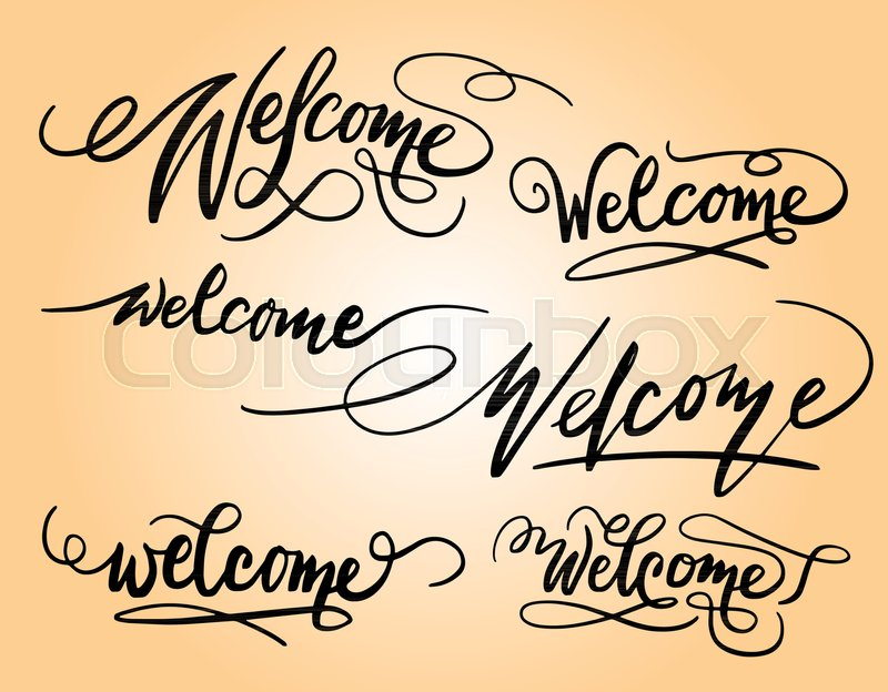 Welcome Handwriting Calligraphy Good Use For Logotype Symbol