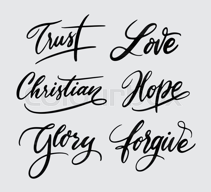 Trust And Glory Handwriting Calligraphy Good Use For Logotype