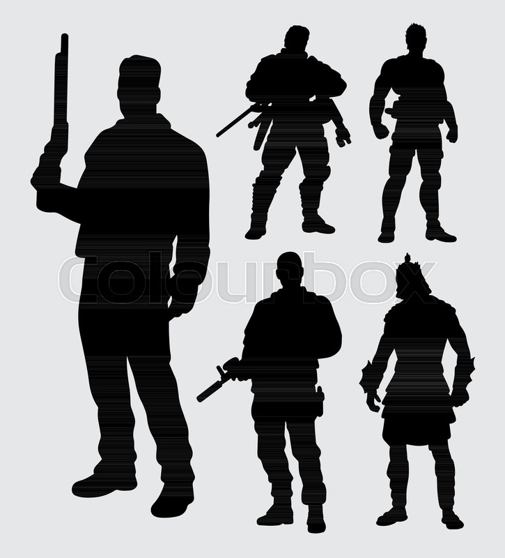 Hero With Gun Silhouette Good Use For Symbol Logo Web Icon