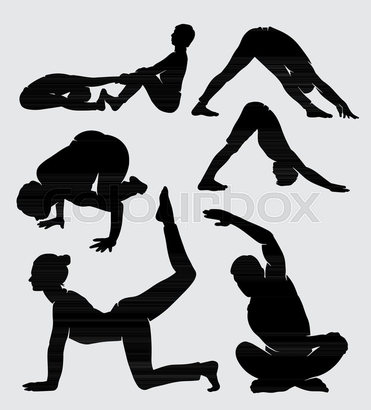 Stock Vector Of Yoga Training Sport Male And Female Silhouette Good Use For Symbol