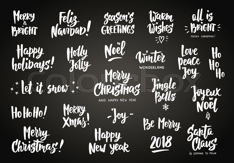 Set of holiday greeting quotes and wishes hand drawn text brush set of holiday greeting quotes and wishes hand drawn text brush lettering merry christmas happy new year happy holidays etc great for cards gift tags m4hsunfo