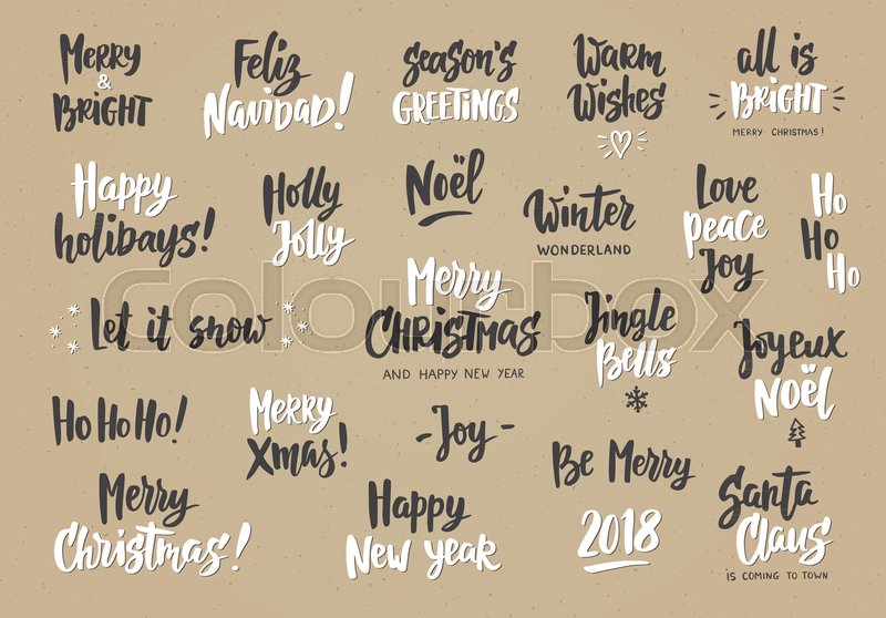 Set Of Holiday Greeting Quotes And Wishes Hand Drawn Text Brush Best Holiday Wishes Quotes