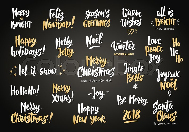White and gold holiday greeting quotes and wishes hand drawn text white and gold holiday greeting quotes and wishes hand drawn text brush lettering merry christmas happy new year happy holidays m4hsunfo