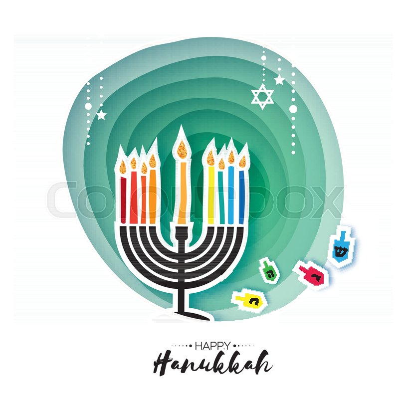 Origami happy hanukkah greeting card for the jewish holiday greeting card for the jewish holiday menorah traditional candelabra and burning candles hanukkah dreidel with letters of the hebrew alphabet m4hsunfo