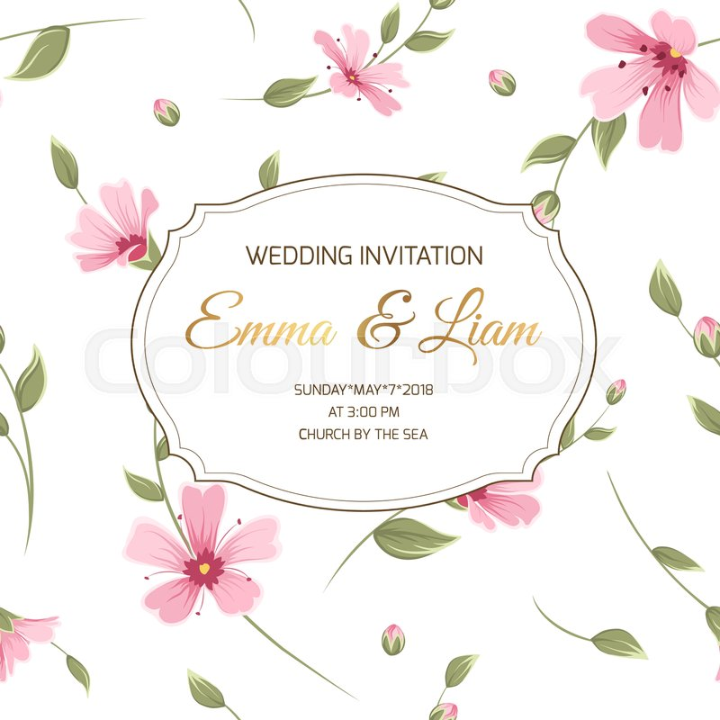 Wedding invitation. Save the date floral card template. Gypsophila ...
