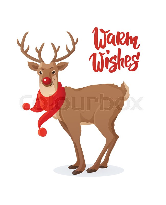 Christmas card cartoon red nose reindeer with scarf warm wishes christmas card cartoon red nose reindeer with scarf warm wishes text hand drawn lettering holiday greeting quote great for christmas and new year m4hsunfo