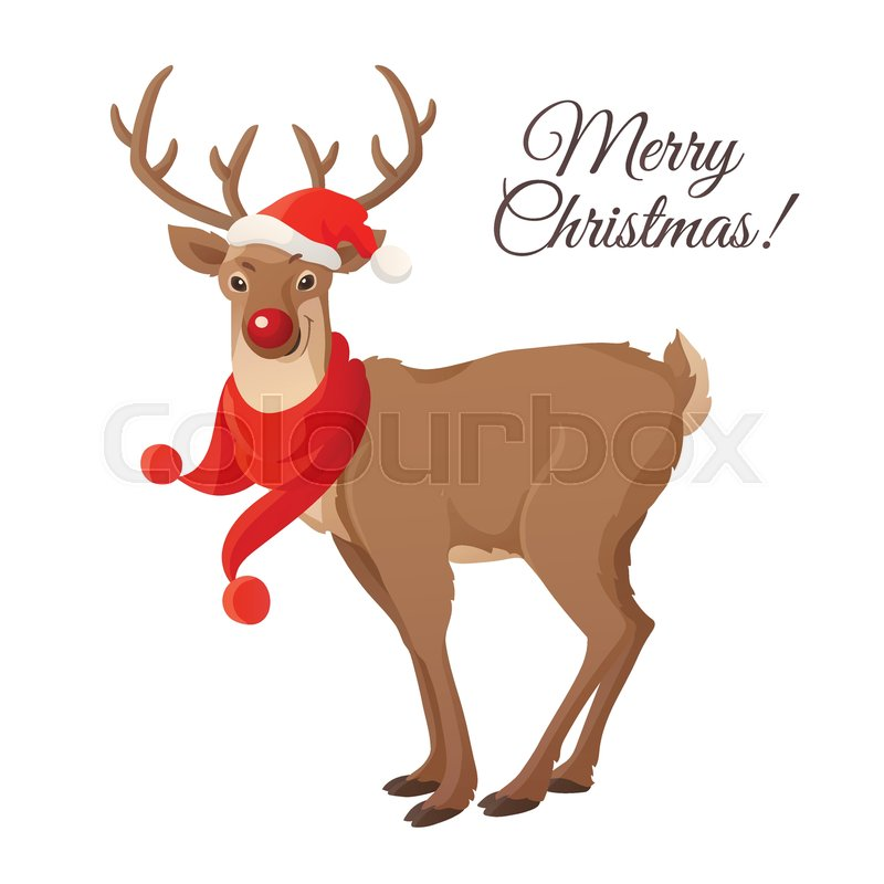 b8b1f80e0d2c0 Stock vector of  Merry Christmas card. Funny red nose reindeer with Santa  red hat