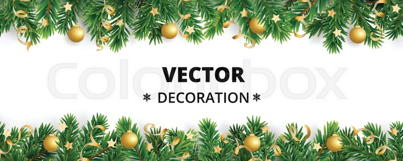 winter holiday background  border with christmas tree