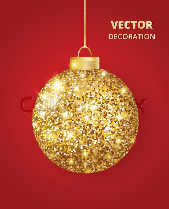 hanging christmas golden ball on red background sparkling glitter texture bauble holiday decoration great for christmas and new year design of cards