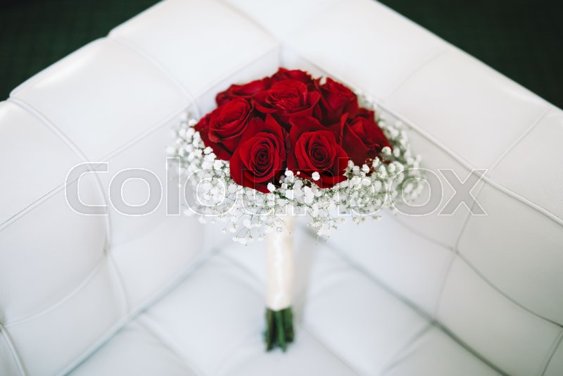 Small Wedding Bouquet From Res Roses On Stock Image Colourbox