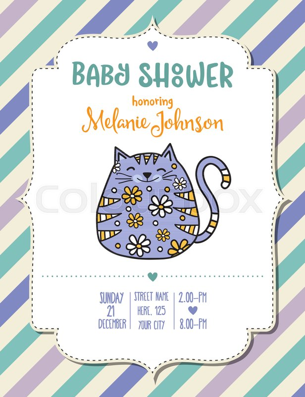 Baby Shower Card Template With Fat Doodle Cat Vector Format Stock