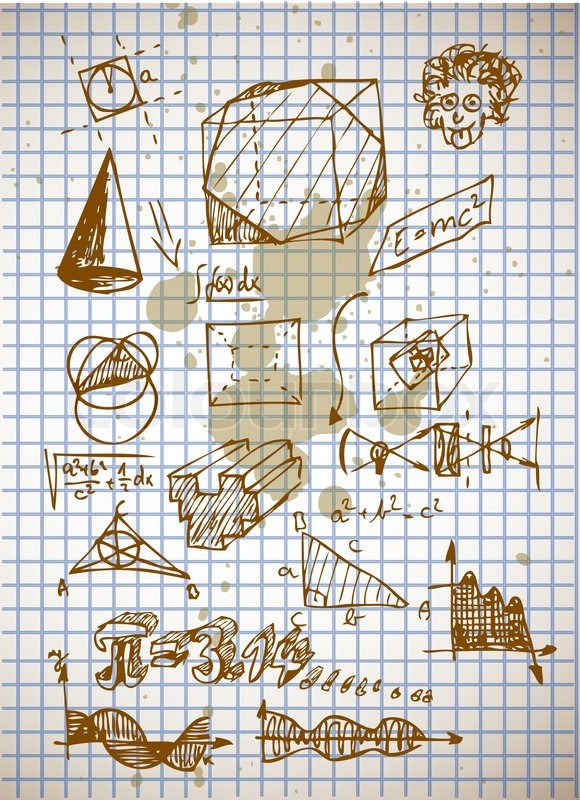 Math Symbols From High School Isolated On The Old Background Stock