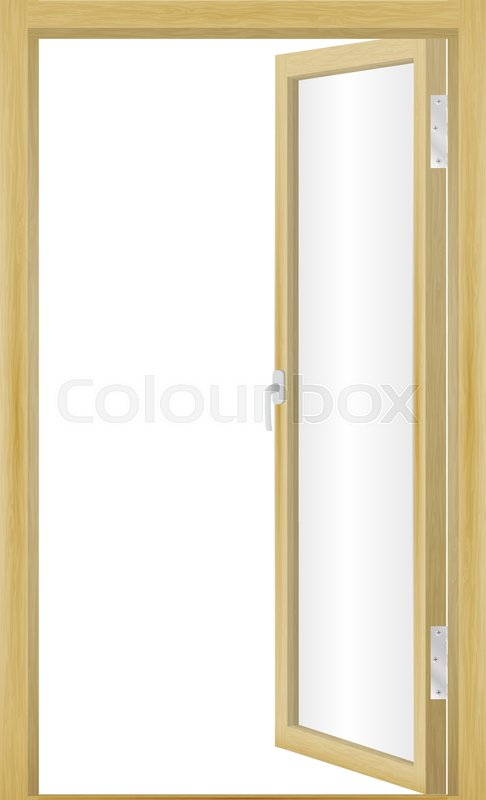 Exceptionnel Vector Illustration Of An Open Wood Door Isolated On A White Background. Glass  Door.   Stock Vector   Colourbox