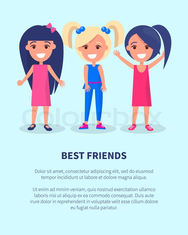 Best Friends Three Girls Poster Of Active Kids Vector Illustration Set Female Happy Infants With Place For Text