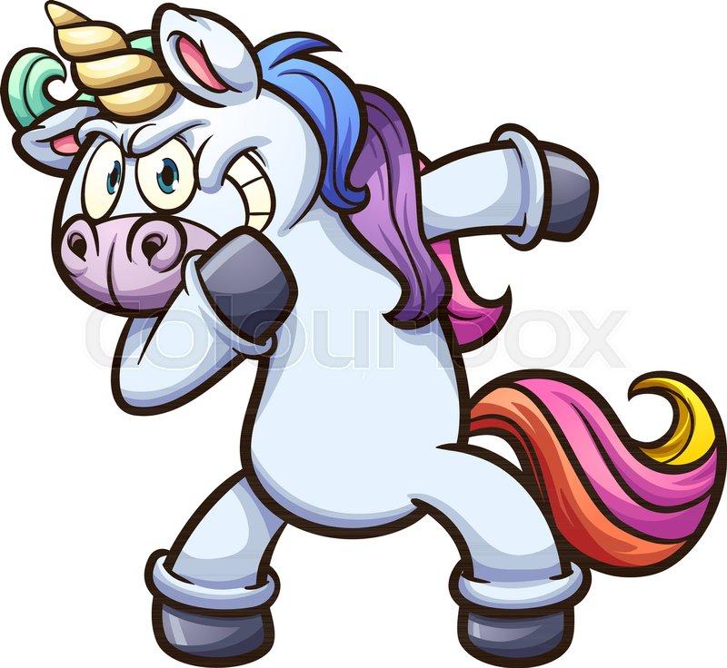 dabbing cartoon unicorn vector clip art illustration with simple