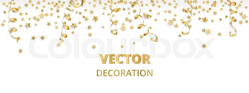 isolated golden garland border frame hanging baubles and falling confetti great for christmas new year cards birthday and wedding invitations banners