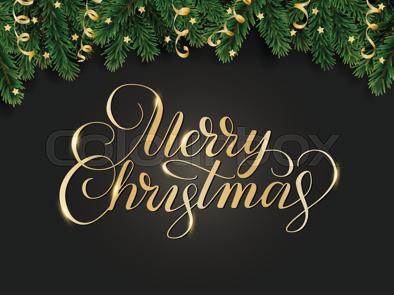 Merry Christmas hand written lettering. Winter holiday background ...