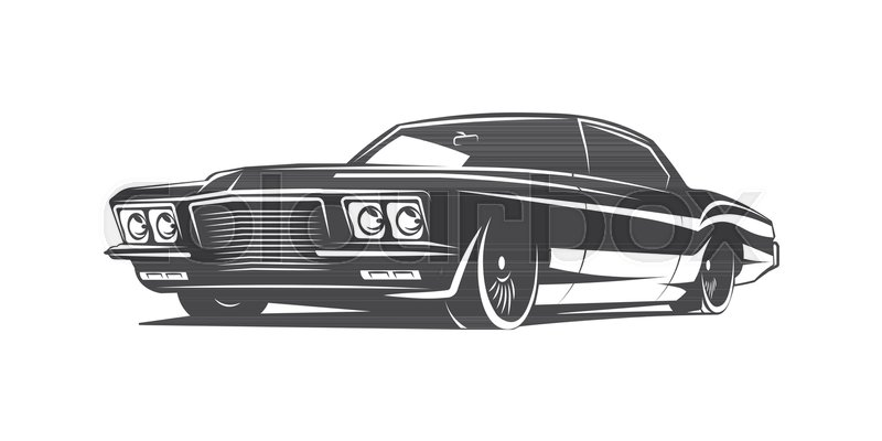 Muscle Car Black And White Vector Poster Illustration Stock Vector