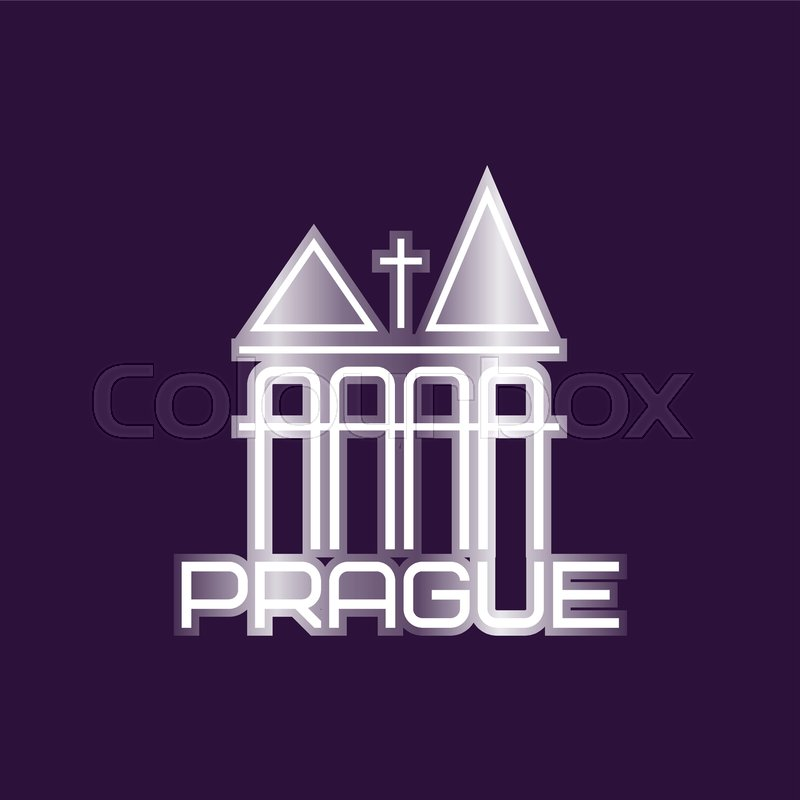 Prague Vector Symbol With Church Building Or Towers Original Logo