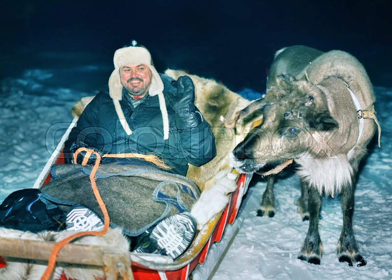Man in reindeer sleigh at night safari in the forest, Rovaniemi, Lapland, Finland. Toned, stock photo