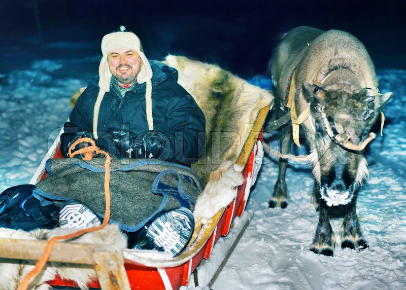 Man with reindeer sleigh at night safari in the forest, Rovaniemi, Lapland, Finland. Toned, stock photo