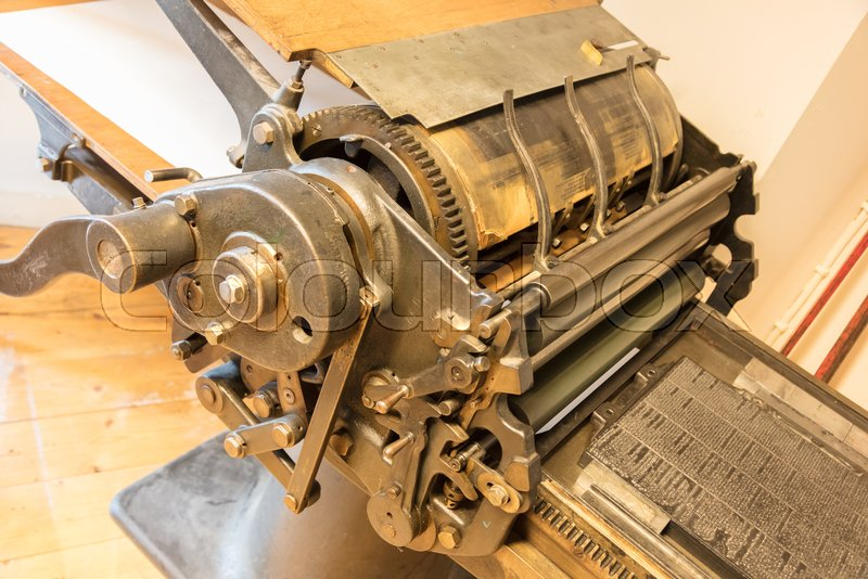 Old offset printing press in the       Stock image   Colourbox