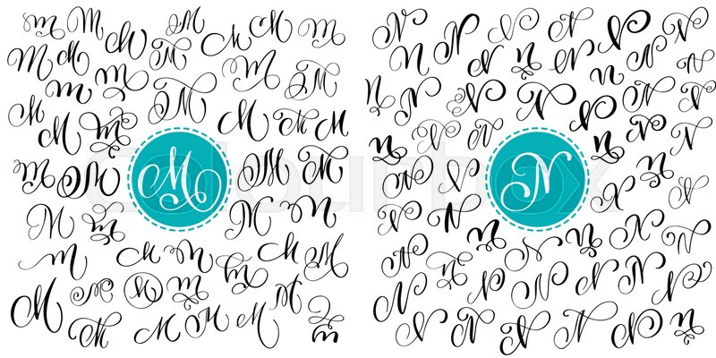 Set Letter M N Hand Drawn Vector Flourish Calligraphy Script Font Isolated Letters Written With Ink Handwritten Brush Style Lettering For Logos