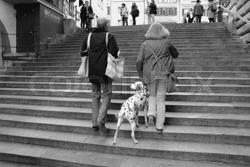 The couple, man and wife with the dog are walking upstairs through the staircase in the shopping centre of Lucerne in Switzerland in the autumn in black and white, stock photo
