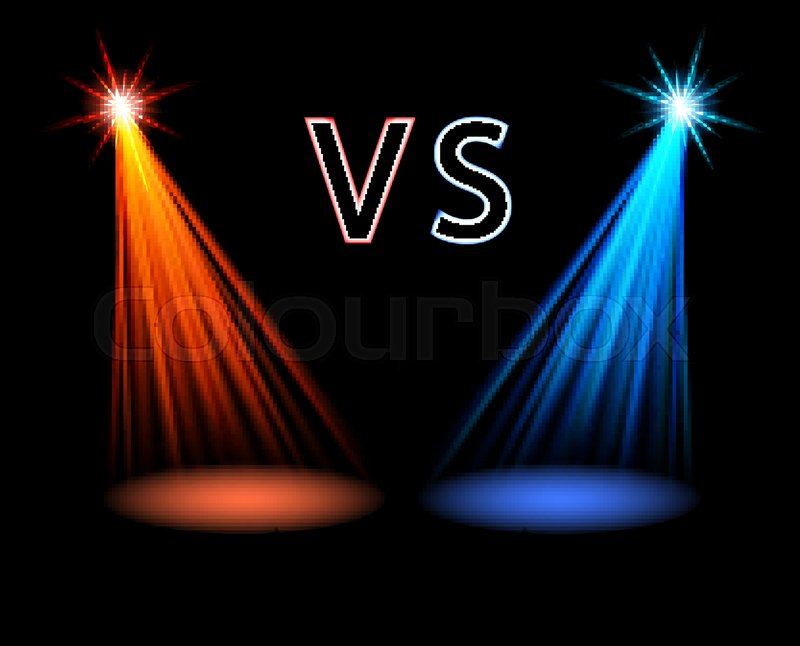 Red And Blue Volume Light On Black Stock Vector
