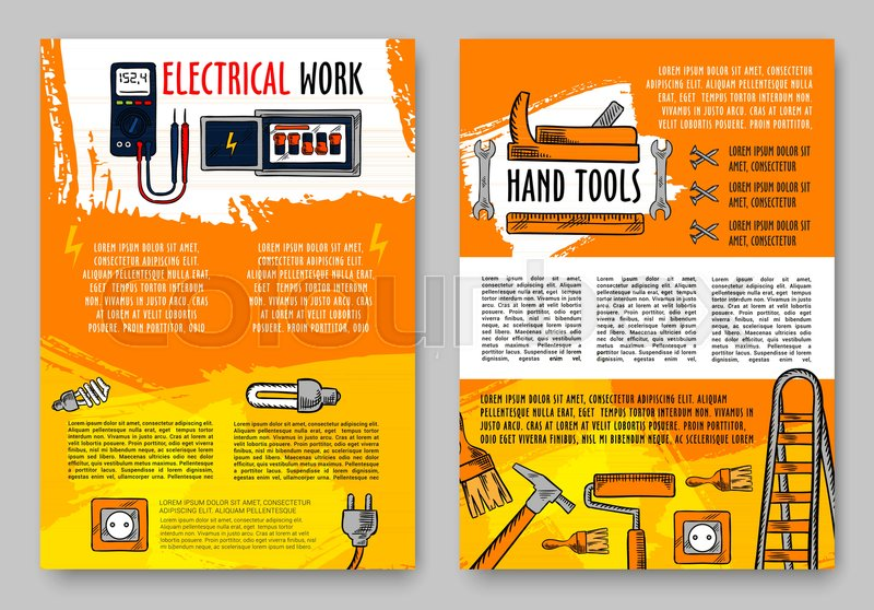 Home repair and electrical work tools sketch posters design template ...
