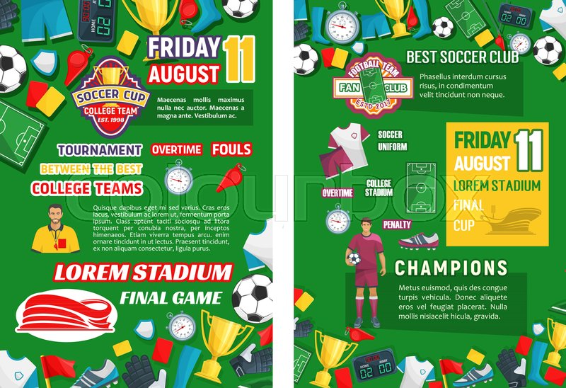 soccer club championship or football college team cup posters for