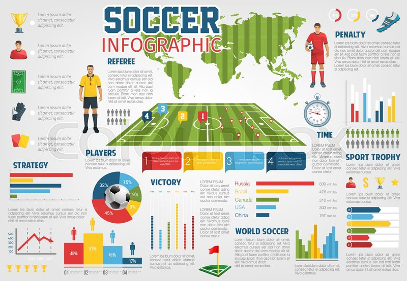 Soccer world infographic on champion goal scores statistics team soccer world infographic on champion goal scores statistics team league football game diagram and player championship on world map vector chart of arena ccuart Images