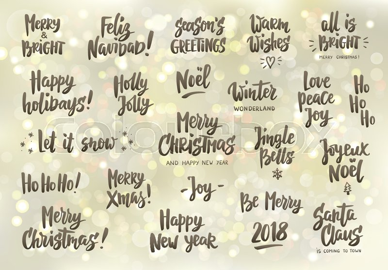 Set of holiday greeting quotes and wishes. Hand drawn text, brush ...