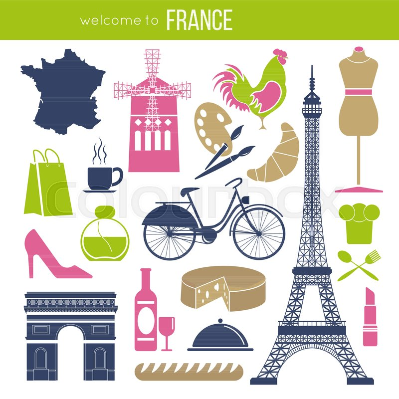 france sightseeing landmarks and famous vector travel attractions poster vector icons of french map and flag eiffel tower and baguette paris triumphal