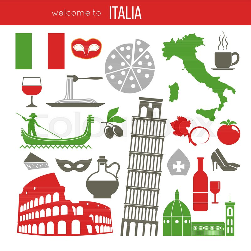 Set Of Rome Italy Symbols Italian Vector Illustrations Collection