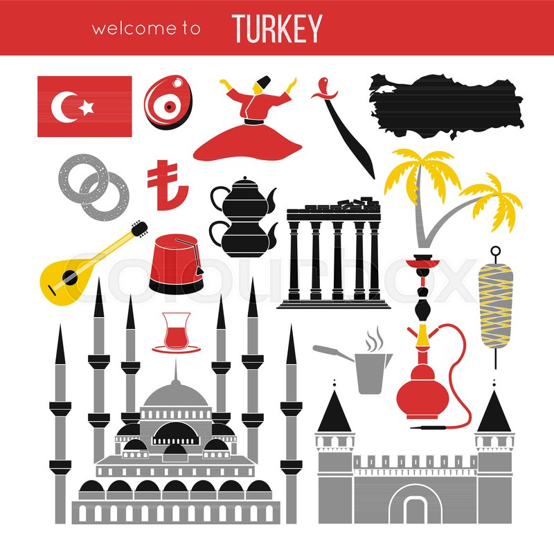 Set Of Country Turkey Culture And Traditional Symbols Collection