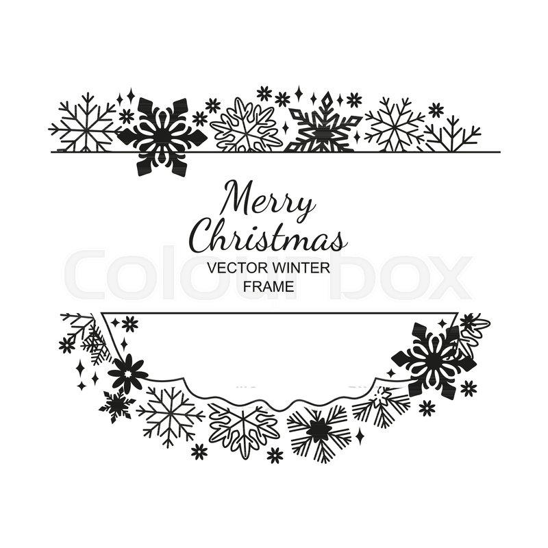 Black White Snowflake Frame Stock Vector Colourbox