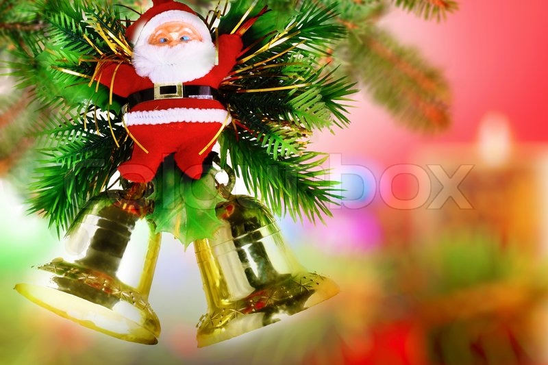 christmas and new year decoration santa claus and jingle bells stock photo colourbox
