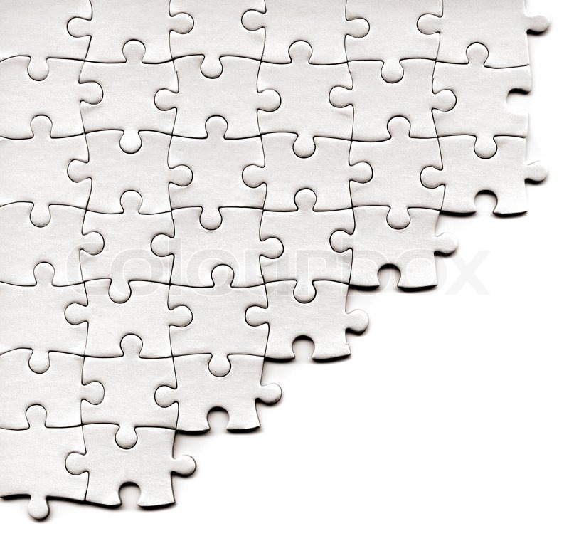 Puzzle Pieces On A White Background Stock Photo Colourbox
