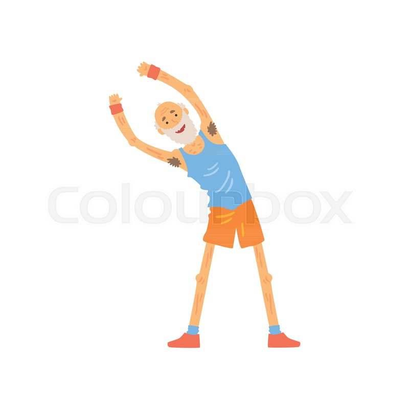 Active Old Man Stretching Before Stock Vector Colourbox